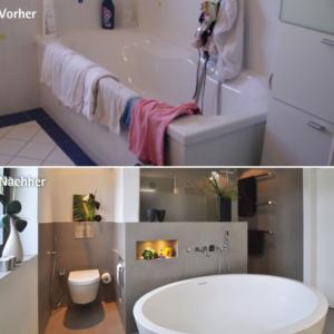 Aus alt wurde neu: Barrierefreie und moderne Umgestaltung des 12m² großen Badezimmers in einen hellen, lichtdurchfluteten Raum mit Hochglanz-Decke.