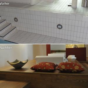 """Individueller """"Naherholungsbereich"""": Umgestaltung eines Keller-Schwimmbads zum Wellness-Bereich"""